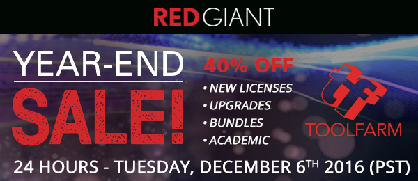 Save the Date! Red Giant and Greyscalegorilla One Day Sales