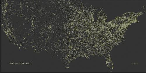 Ben Fry's ZIP Code Map: Zipdecode.