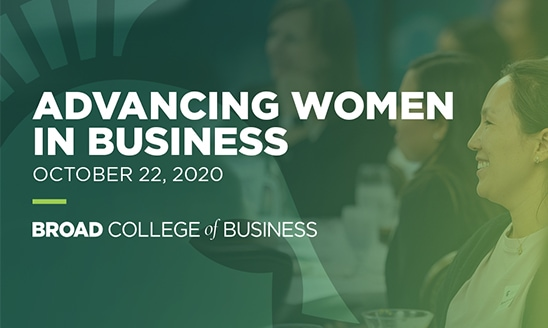 A green and white promotional graphic for Advancing Women in Business on Oct. 22.