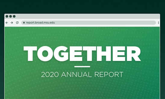 A graphic of an internet browser displaying the 2020 Annual Report, 'Together'.