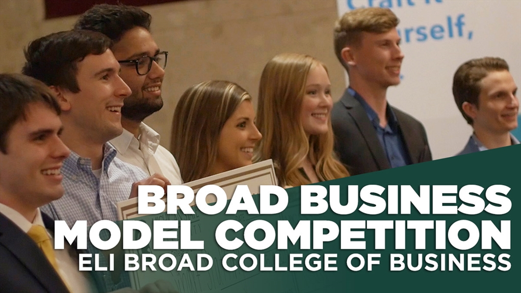 Broad Business Model Competition - Eli Broad College of Business - winners with their oversized checks