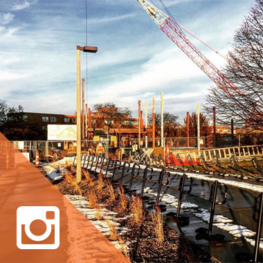 Instagram photo of crane at the Business Pavilion site