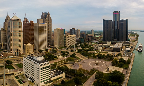 An aerial view of Detroit, Michigan on a clear fall day.