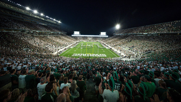 Spartan Stadium full for a night game