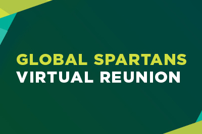 Dark green background with light green and white text that reads: Global Spartans Virtual Reunion