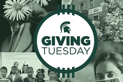 A green and white collage of images showing people doing different things but all coming together for Giving Tuesday.