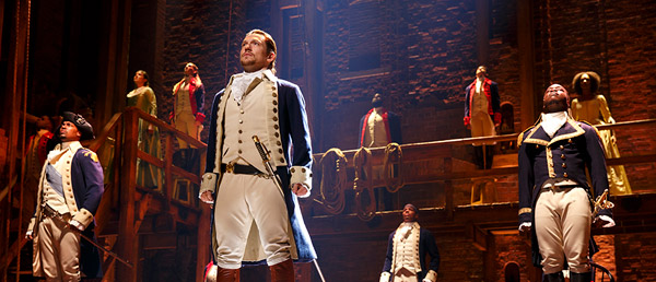 The cast of Broadway's Hamilton, on stage during a scene