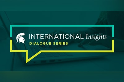 A green and yellow promotional graphic for the International Insights Dialogue Series.