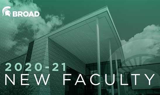 View of the Minskoff Pavilion in a green tint, with white text: 2020-21 New Faculty.