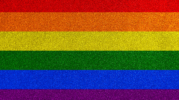 The colors of the pride flag; red, orange, yellow, green, blue and purple