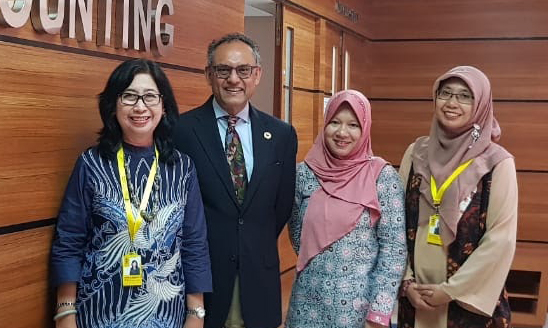 Dean Gupta pictured with leaders from the University of Indonesia, a partner school with MSU.