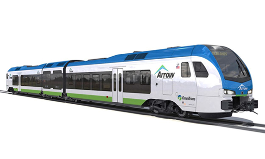 A rendering of what the first hydrogen-powered passenger train could look like.