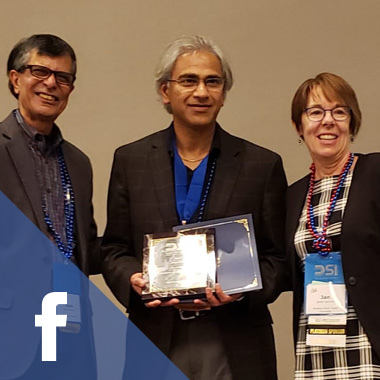 Sri Talluri, Hoagland Metzler Endowed Professor and professor of supply chain management (center), pictured at the 2019 DSI Annual Conference with Professor Asoo Vakharia, fellows committee chair (left) and Professor Janet Hartley, president of DSI (right).