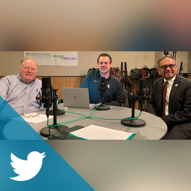 From left to right: Bill Beekman, Matt Larson and Dean Sanjay Gupta in the MSU Audio Studios.