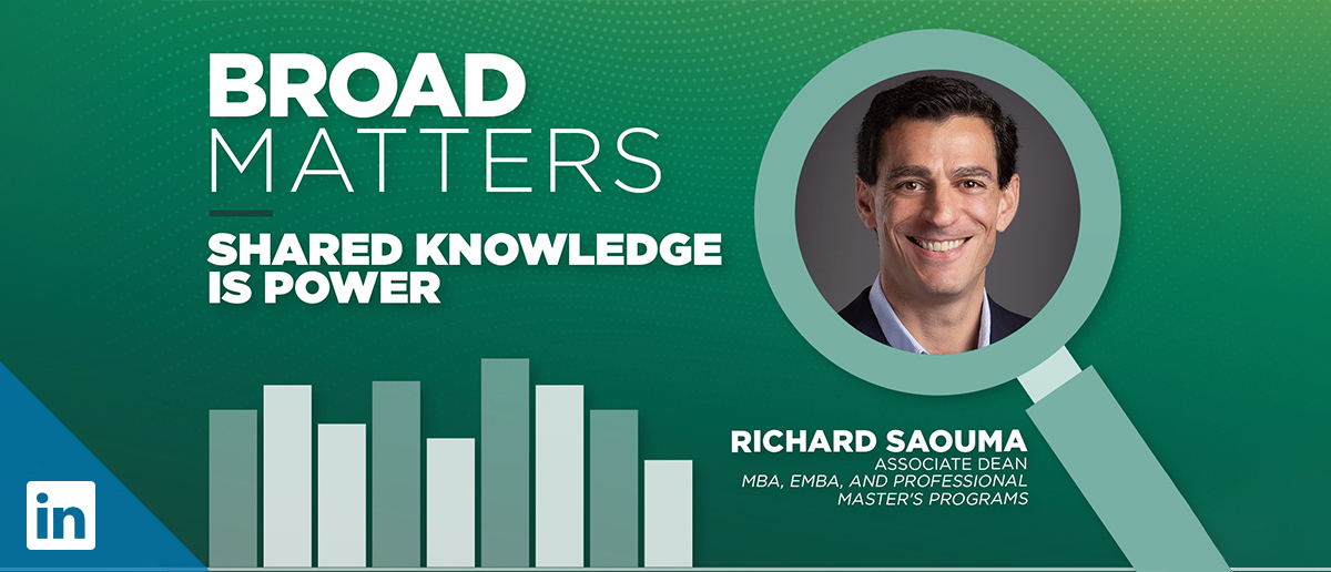 A promotional image for the Broad Matters podcast episode featuring associate dean Richard Saouma titled,