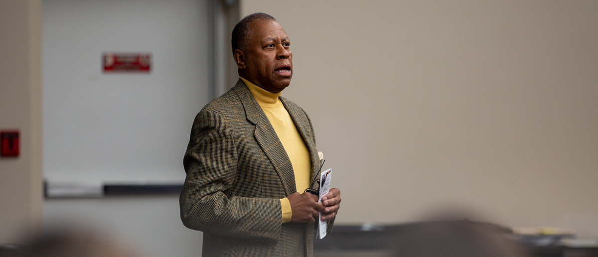 Assistant dean for Multicultural Business Programs Ernest Betts speaks at a past in-person event.