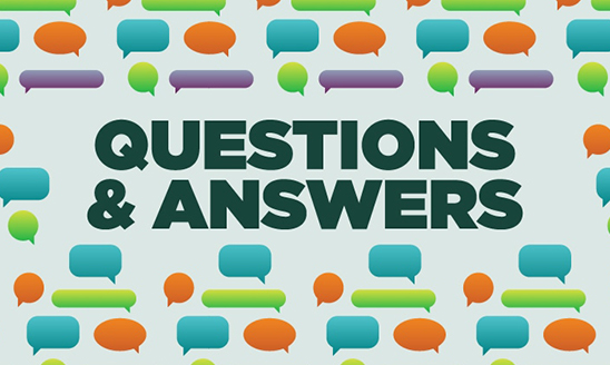 Text: Questions & Answers surrounded by colorful message bubbles on a gray background.