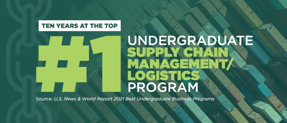 A promotional graphic showcasing the Broad College's undergraduate supply chain programs achieving ten years as the No. 1 program according to U.S. News & World Report.