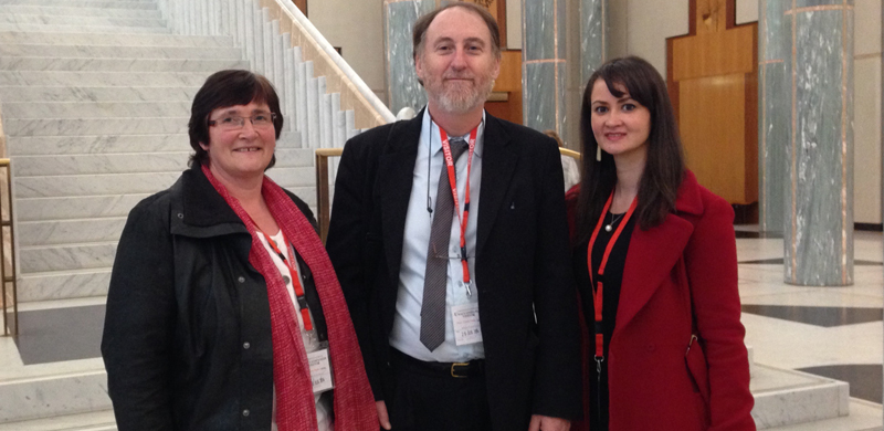 IMAGE: Advocates at Parliament House to discuss Business Services Wage Assessment Tool Payment Scheme Bill 2014 with Senators on Tuesday 26 August: L to R: Mary Mallett (Disability Advocacy Network Australia), Paul Cain (Inclusion Australia) and Ngila Bevan, Human Rights Advisor, PWDA.