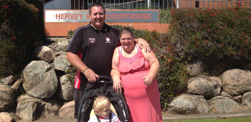 IMAGE: Chris and Katherine Gallehawke and their son are pictured above outside the Hervey Bay Courthouse.