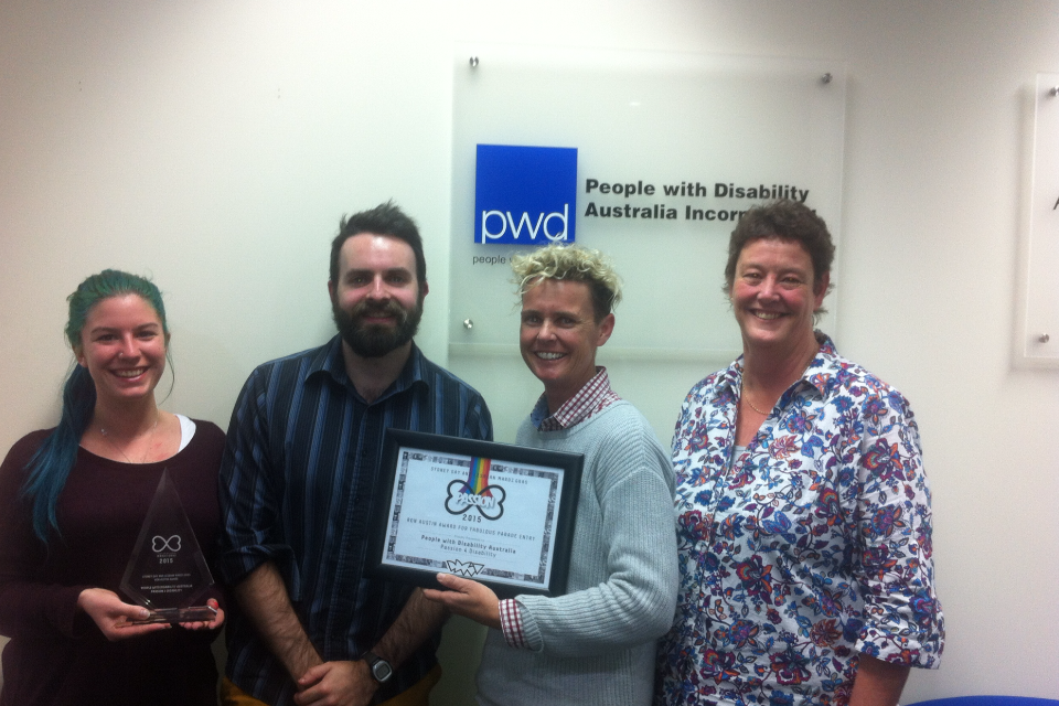 IMAGE: Alicia Melita from Northcott, Pete Darby from PWDA, Jodie Wilkins from Northcott and Jill Maginnity from Cerebral Palsy Alliance holding a certificate & trophy