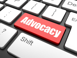 IMAGE: The word Advocacy is spelt out in letters on top of a red button on a computer keyboard.