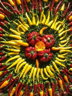 groentenmandala van pepers en paprika's