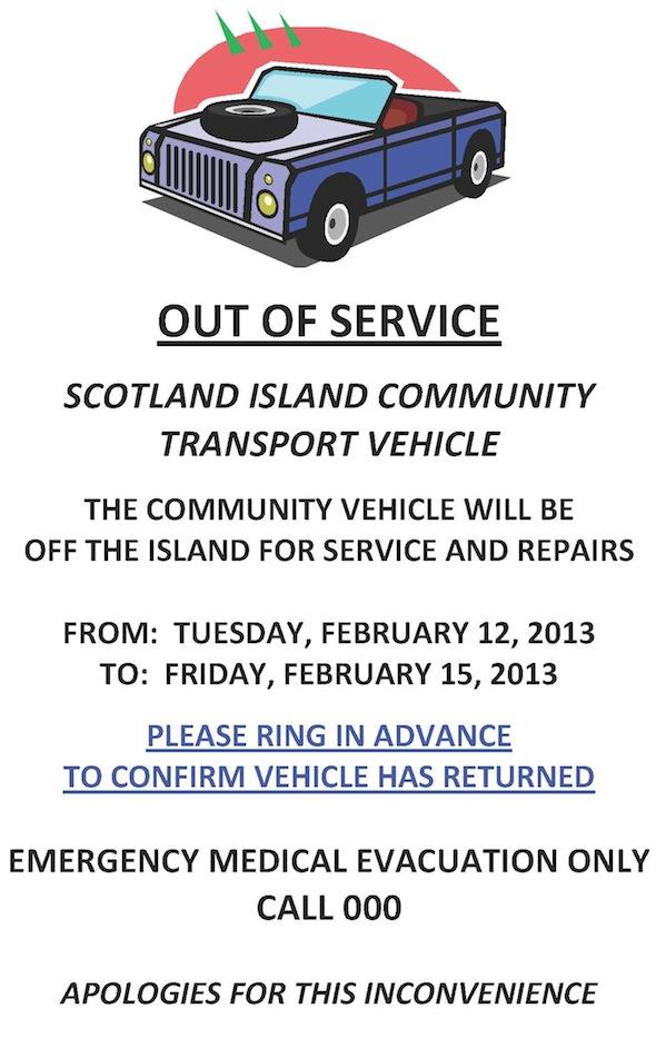 Community Vehicle on service