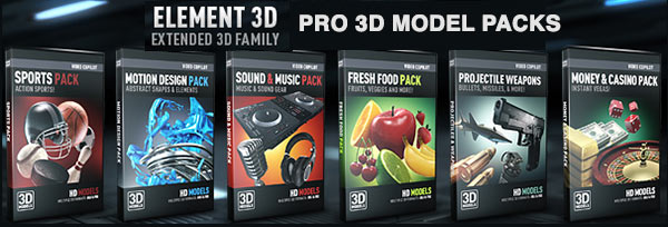 Video Copilot Element 3D is Here! 3D Model Packs, 3D Materials and